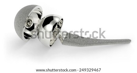 Hip replacement implant isolated on white - stock photo