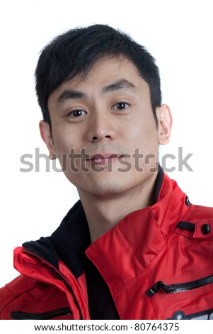 Hip young Asian motorcycle rider - stock photo