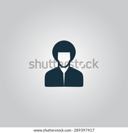 Hippi man. Flat web icon or sign isolated on grey background. Collection modern trend concept design style illustration symbol - stock photo