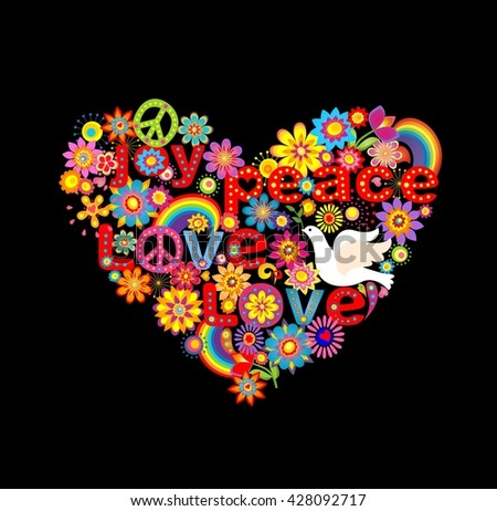 Hippie heart print with doves and rainbow - stock photo