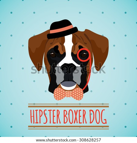Hipster boxer dog with hat monocle and bow tie portrait with ribbon poster  illustration - stock photo