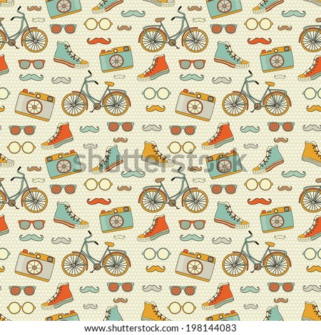 Hipster Doodles Colorful Seamless Pattern, Background  - stock photo