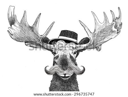 hipster moose with large mustache and cool hat, fun hip large moose with antlers, cartoon character, hand drawn cute funny wildlife picture, creative artsy animal humor, facial hair, march mustache - stock photo