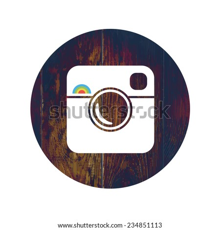 Hipster Photo Icon on Wooden Texture with Cross Process Effect. Raster version  - stock photo