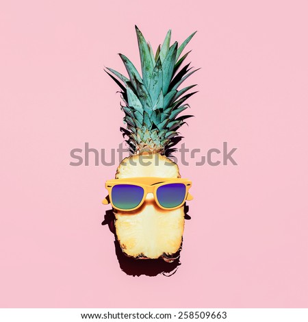 Hipster Pineapple Fashion Accessories and Fruits. Vanilla style. - stock photo