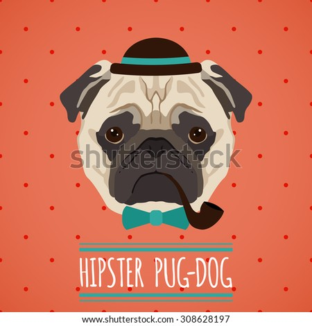 Hipster pug dog with hat smoking pipe and bow tie portrait with ribbon poster  illustration - stock photo