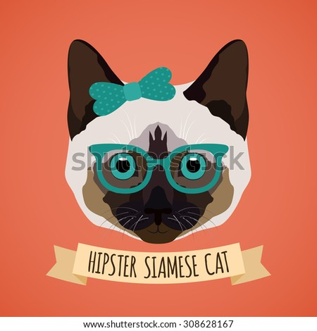Hipster siamese cat with glasses and bow portrait with ribbon poster  illustration - stock photo