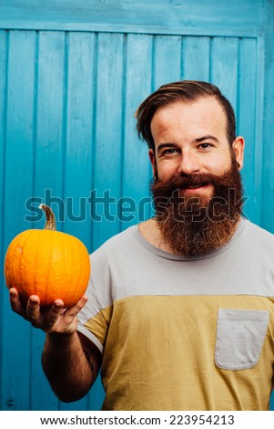 Hipster style bearded man - stock photo