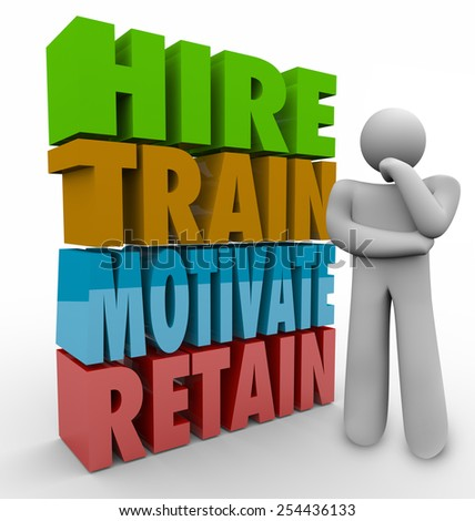 Hire, Train, Motivate and Retain 3d words beside a thinker to illustrate human resources practices to improve employee satisfaction and retention - stock photo