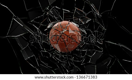 Hires realistic 3D basket ball is breaking glass with isolated black background. - stock photo