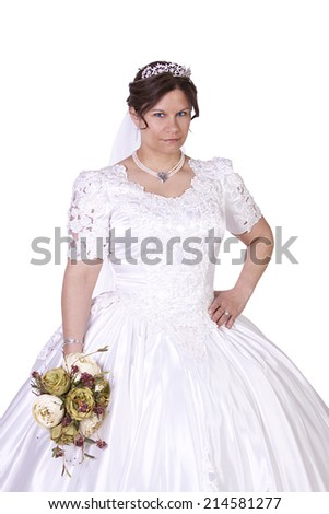 Hispanic Bride in white couture wedding dress - Isolated Background - stock photo