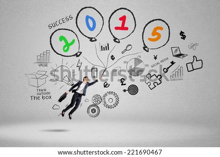 Hispanic businesswoman fly to chase better future in 2015 - stock photo