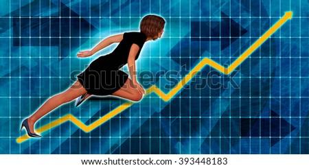 Hispanic Businesswoman Running with Chart Graph Background Art - stock photo