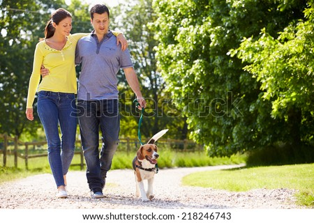 Hispanic Couple Taking Dog For Walk In Countryside - stock photo