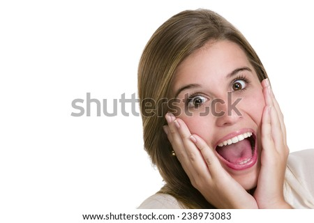 Hispanic cute young woman with surprise expression. Image isolated on white with clipping path. - stock photo
