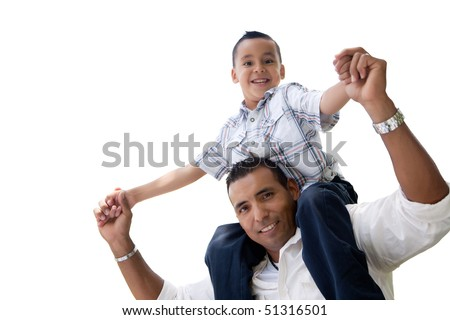 Hispanic Father and Son Having Fun Isolated on a White Background. - stock photo