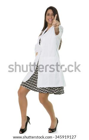 Hispanic female wearing lab coat gesturing number 1 on white background - stock photo