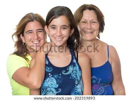Hispanic girl with her mother and grandmother hugging and smiling isolated on white - stock photo