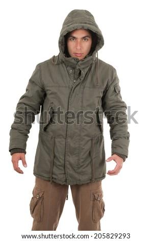 hispanic man wearing jacket and hoodie isolated on white - stock photo
