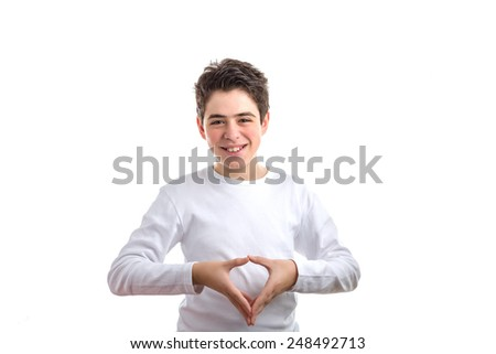 Hispanic smooth-skinned teen in a white long sleeved t-shirt makes reverse hand steeple gesture - stock photo
