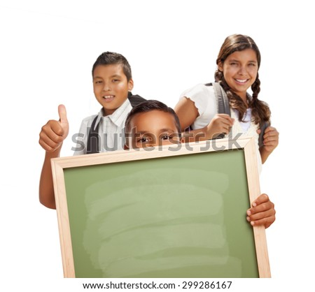 Hispanic Students with Thumbs Up Holding Blank Chalk Board Isolated on White Background. - stock photo