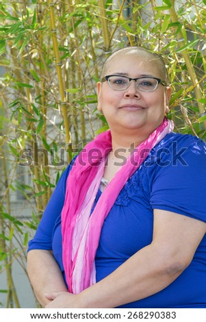 Hispanic Woman Diagnosed With Cancer Maintains Positive Attitude - stock photo