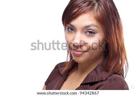 Hispanic Woman Headshot - stock photo
