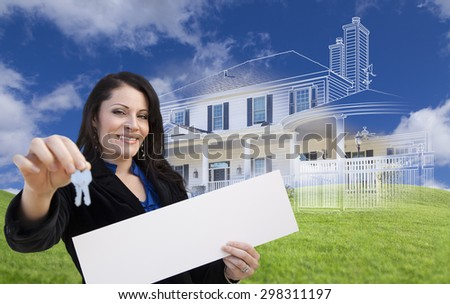 Hispanic Woman Holding Keys and Blank Sign with Ghosted House Drawing, Partial Photo and Rolling Green Hills Behind. - stock photo
