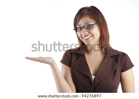 Hispanic Woman Holding Out Hand - stock photo
