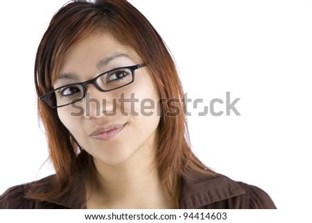 Hispanic Woman Thinking - stock photo
