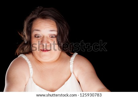 hispanic woman with a surprised look on her face with space for custom text - stock photo