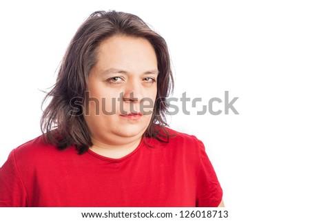 hispanic woman with mean look - stock photo