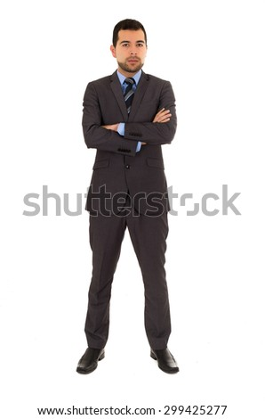 hispanic young man wearing grey suit standing crossing arms isolated on white - stock photo