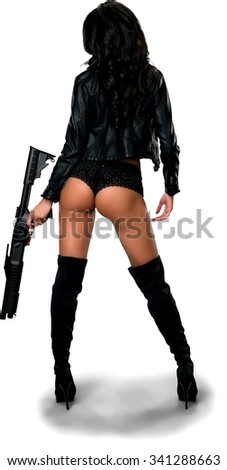 Hispanic young woman with long black hair in costume holding shotgun - Isolated - stock photo