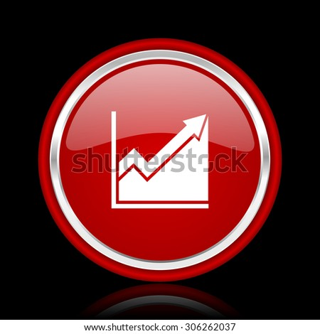 histogram red glossy web icon chrome design on black background with reflection  - stock photo