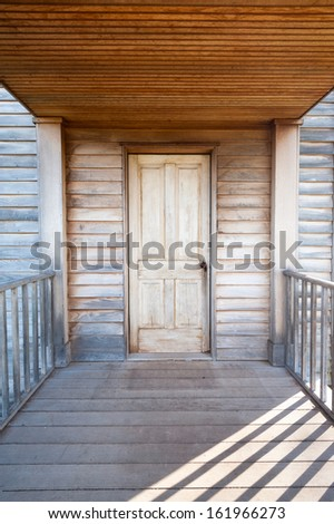 Historic American Civil War Home Front Porch Door Manassas National Battlefield Park - stock photo