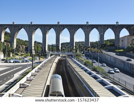 historic aqueduct in Lisbon, Portugal - stock photo