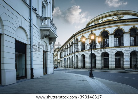 Historic art nouveau building of bank in Warsaw old town, Poland - stock photo