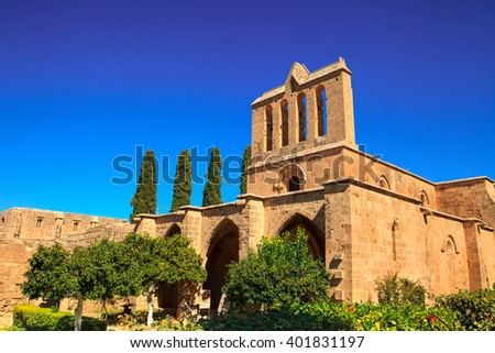 Historic Bellapais Abbey in Cyprus. - stock photo