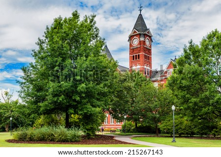 Historic building and campus at Auburn University in Auburn, Alabama - stock photo