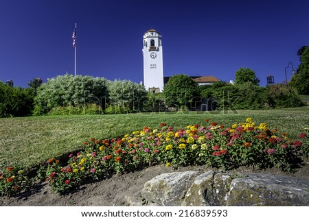 Historic building in Boise Idaho with colorful flowers - stock photo