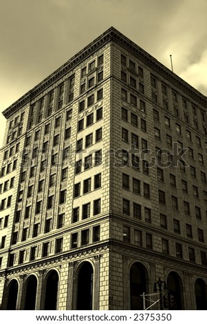 Historic building in sepia color tone - stock photo