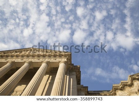 Historic building in Washington DC over bright blue sky. Place for Copy. - stock photo