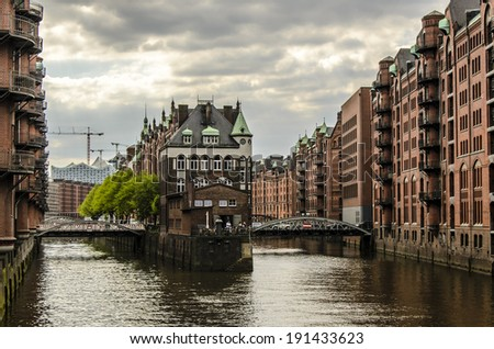 Historic buildings in the Speicherstadt in Hamburg, Germany - stock photo