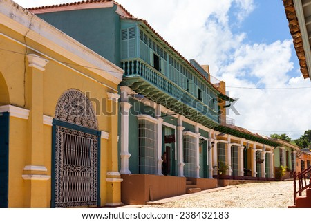 Historic Buildings of Trinidad with alley view - stock photo