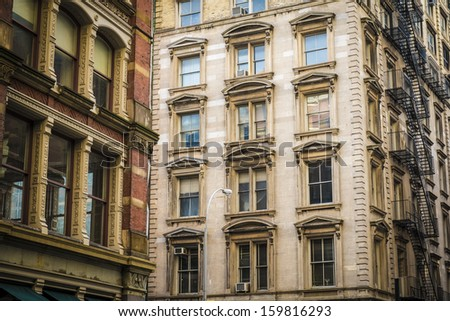 Historic cast iron buildings in New York City's Soho District - stock photo