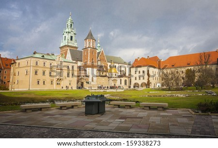 historic castle in the old city of Krakow - stock photo