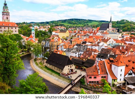 Historic castle of Cesky Krumlov and town in Czech Republic - stock photo