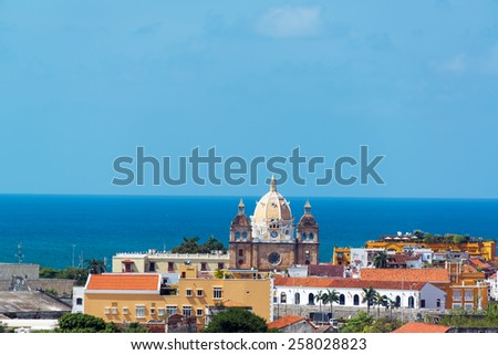 Historic center of Cartagena, Colombia with San Pedro Claver church featuring prominently in the center of the photograph - stock photo