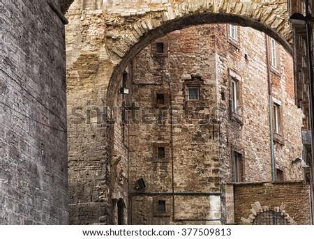 historic center of Perugia, Perugia, Umbria, Italy - stock photo